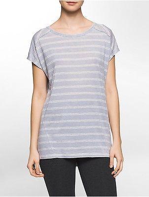 Calvin Klein Womens Performance Striped Keyhole Back Cap-Sleeve T-Shirt