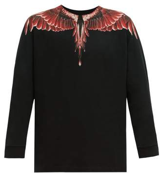 Marcelo Burlon County of Milan Ghost Wings Print Cotton Long Sleeved T Shirt - Mens - Black Red