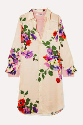Junya Watanabe Layered Floral-print Silk-jacquard And Wool-jersey Dress - White