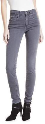 Etoile Isabel Marant Mid-Rise Straight-Leg Jeans with Embroidered Sides
