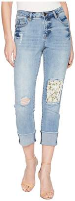 Tribal Stretch Denim 24 Five-Pocket Crop with Floral Patch in Dream Blue Women's Jeans