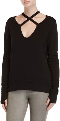 Pam & Gela Ribbed Cross Neck Sweatshirt
