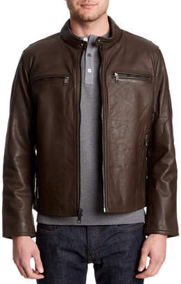 Andrew Marc Lamar Brown Leather Moto Jacket