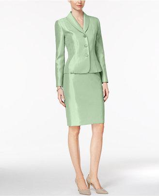 Le Suit Shawl-Collar Shimmer Skirt Suit $200 thestylecure.com