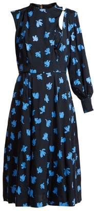 Toga - Floral Print One Sleeved Midi Dress - Womens - Navy