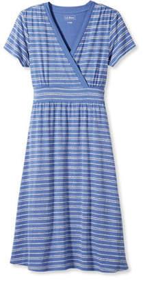 L.L. Bean (エルエルビーン) - サマー・ニット・ドレス、半袖 ぺブル・ストライプ・プリント