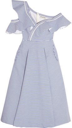 Self-Portrait - Off-the-shoulder Striped Cotton-poplin Midi Dress - Blue $545 thestylecure.com