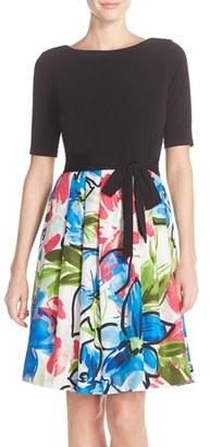 Ellen Tracy Mixed Media Fit & Flare Dress $128 thestylecure.com