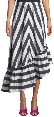 Trina Turk Rosamund Awning Stripe Shirting High-Low Skirt