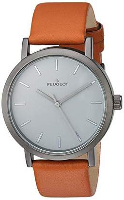 Peugeot Men's 'Matte Gun' Quartz Metal and Leather Casual Watch