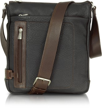 Chiarugi Black and Brown Leather Vertical Messenger