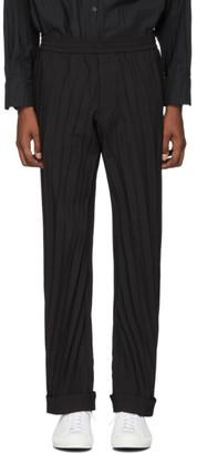 Valentino Black Plisse Elastic Waist Trousers