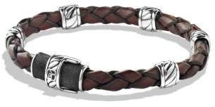 David Yurman Cable Classic Leather Station Bracelet In Black