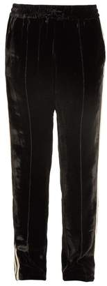Serena Bute - Contrast Striped Straight Leg Velvet Trousers - Womens - Black White