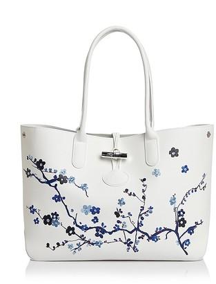 Longchamp Roseau Sakura Leather Shoulder Tote $735 thestylecure.com