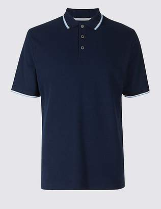 Marks and Spencer Pure Cotton Regular Fit Textured Polo