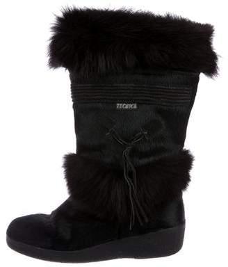 Tecnica Fox-Trimmed Ponyhair Boots