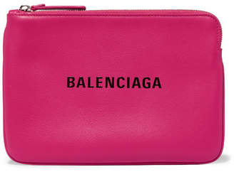 Balenciaga Everyday Printed Textured-leather Pouch - Pink