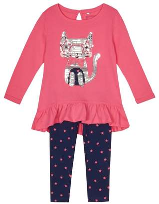 Bluezoo BLUE ZOO Girls' Pink Cat Sequin Top And Leggings Set