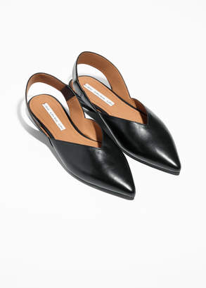Sling-back Leather Flat