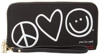 Peace Love World Women's Patches Zip Around Wristlet Wallet