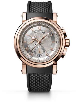 Breguet 42mm Marine 18k Rose Gold Chronograph Watch w/ Rubber Strap, Black/Rose