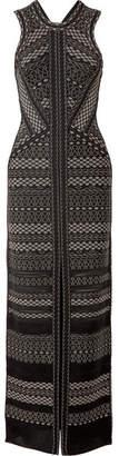 Herve Leger Cutout Pointelle-trimmed Bandage Gown - Black