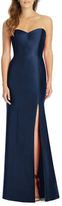 Alfred Sung Strapless Sweetheart Sateen Twill Column Gown Bridesmaid Dress