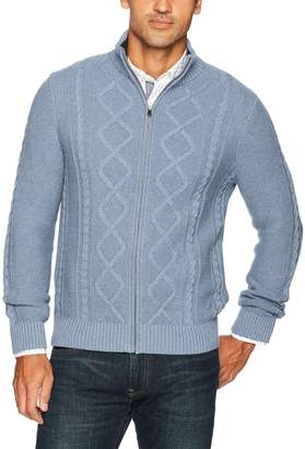 Nautica Men's Long Sleeve Cotton Full Zip Cable Sweater