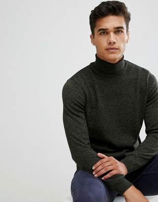 Asos DESIGN cotton roll neck in khaki twist