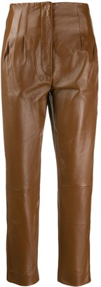Alberta Ferretti high waisted leather trousers