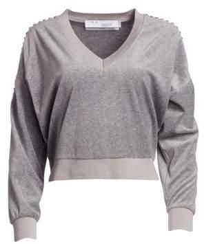 IRO Tapes Cropped V-Neck Sweatshirt