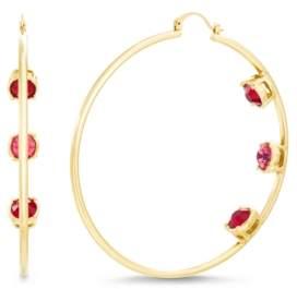 Steve Madden Women's Multi Color Rhinestone Triple Studded Hoop Yellow Gold-Tone Earrings