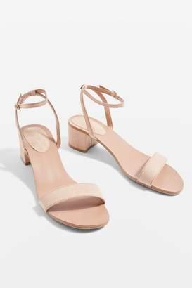 Topshop Nude Darla 2 Part Block Heel Sandals