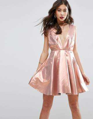 Asos Design Metallic Deep Plunge Mini Skater Dress
