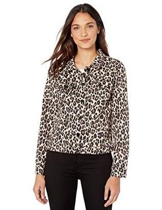 Vince Camuto Women's Classic Elegant Leopard Denim Jacket