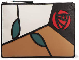 Loewe Roses Patchwork Leather Pouch - Brown