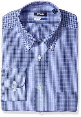 Izod Men's Dress Shirts Regular Fit Check Stretch Buttondown Collar