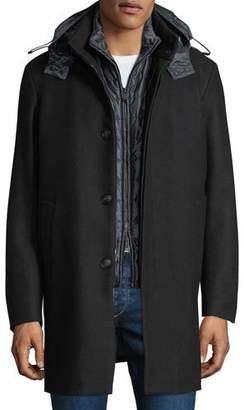 Emporio Armani Men's 3-in-1 Wool Car Coat w/ Vest