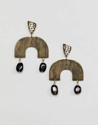 Glamorous abstract gold drop earrings