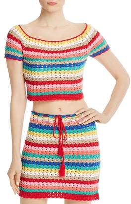 Wildfox Couture Stassi Rainbow-Stripe Crochet Cropped Top
