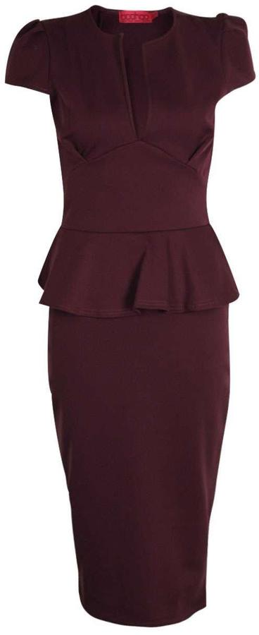 boohoo Emily Slit Neck Cap Sleeve Peplum Midi Dress 11