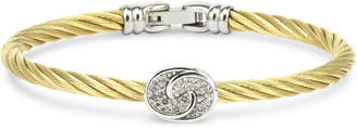Charriol White Topaz Knot Bangle Bracelet (1/4 ct. t.w.) in Sterling Silver & Stainless Steel with Gold PVD