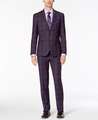 Nick Graham Men's Slim-Fit Dark Purple Plaid Suit