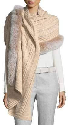 Sofia Cashmere Staghorn Chunky-Knit Cashmere Stole w/ Fur Trim