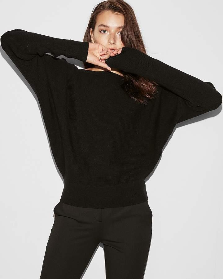 Express Petite Horizontal Ribbed Dolman Sleeve Sweater