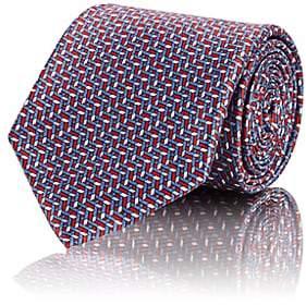 Brioni Men's Geometric-Weave-Pattern Silk Satin Necktie - Blue