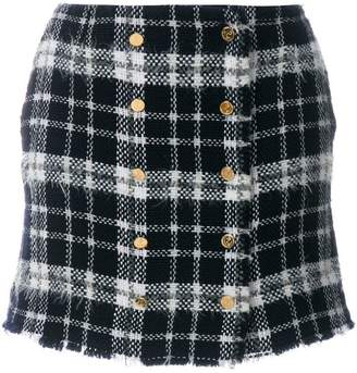 Thom Browne Front-buttoned Lightweight Tweed Mini Skirt