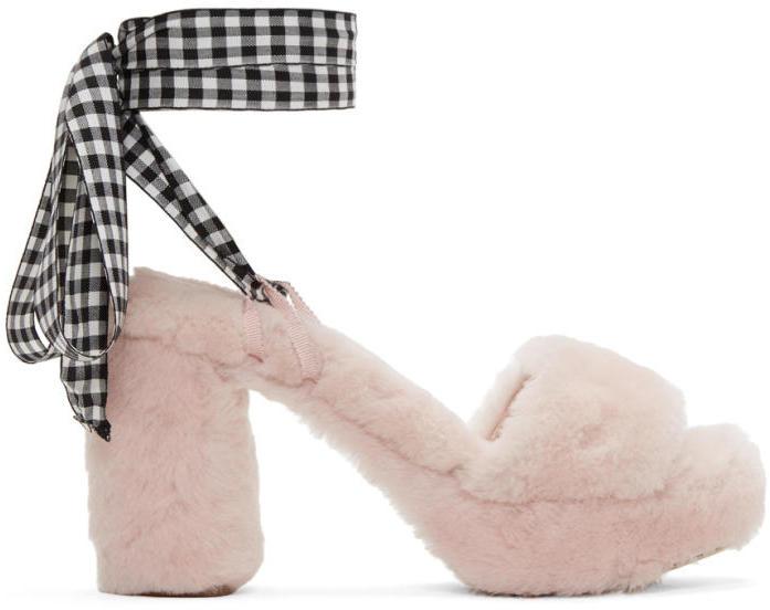 Miu Miu Pink Shearling Sandals