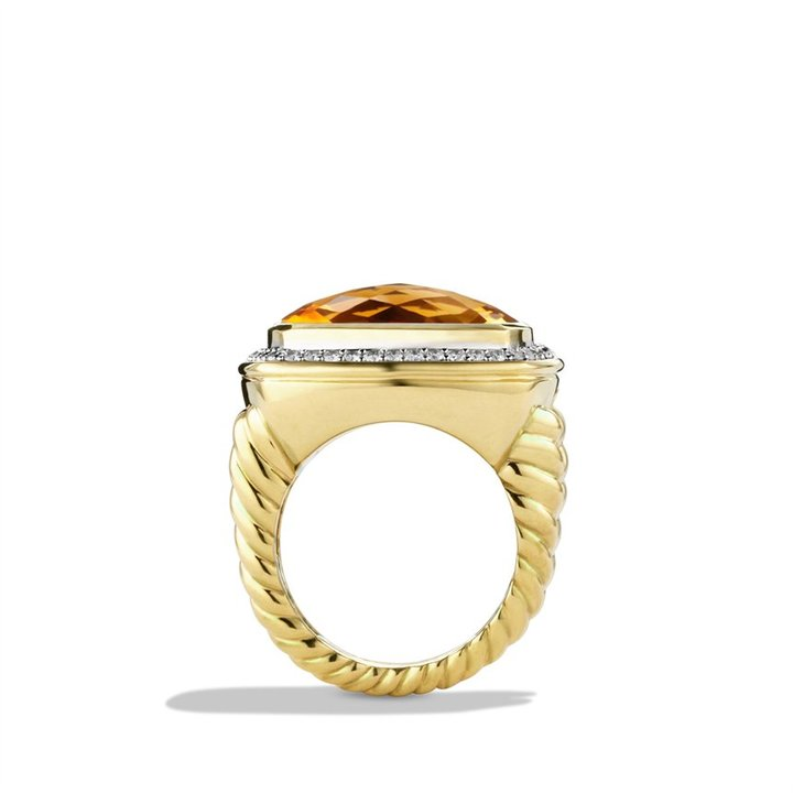 David Yurman Albion Ring with Citrine and Diamonds in Gold
